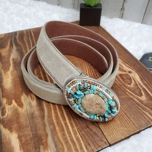 Chico's Bead Embellished Beige Leather Belt